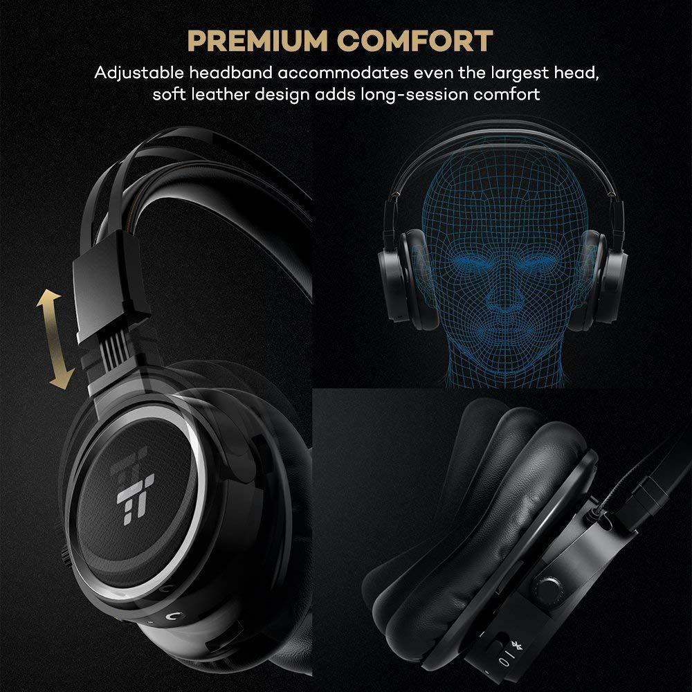 Retro Design with Leather Ear Cup, aptX Natural High Clarity Sound, 20 Hours Playtime TaoTronics Wireless Over Ear Headset Bluetooth Headphones with Microphone