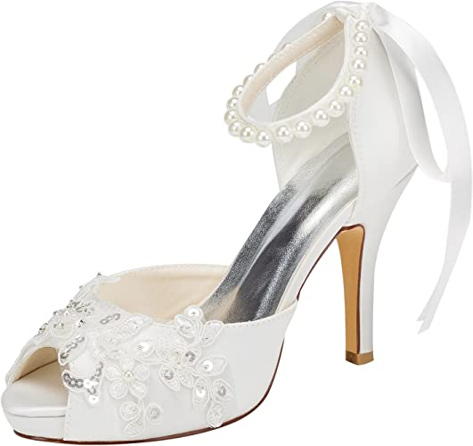 Scarpe Da Sposa Color Avorio.Emily Scarpe Da Sposa Con Tacco Alto E Cinturino Alla Caviglia