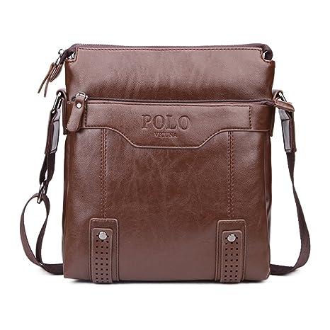 VICUNA POLO Vintage Unique Hollow Bottom Leather Man Bag with Rivet Soft  Men Leather Messenger Bag Fashion Shoulder Bags(Khaki)  Amazon.in  Bags 10006a38c0b63