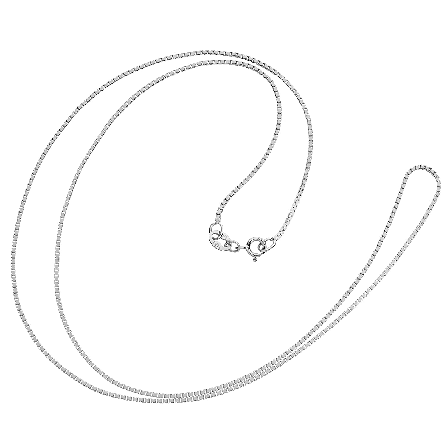 .60mm or 1.0mm Thick 14 Inch to 22 Inch Lengths Available 14K Solid White Gold Box Link Chain Necklace