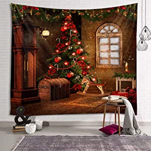 fangzhuo Christmas Tapestry Retro Christmas Tree Wall Tapestry Wood Horse Clock Wall Hanging Decor for Bedroom Livingroom Dorm Home W90 x L71