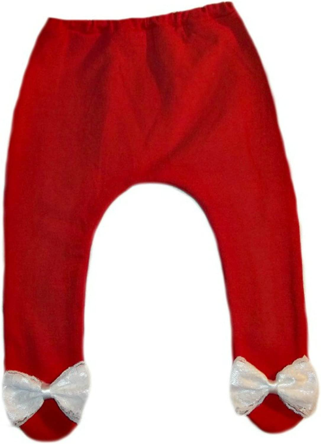 Jacquis Baby Girls Red Tights with White Lace Bows