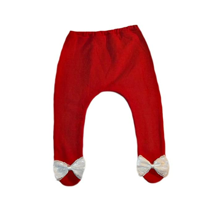 464867430 Amazon.com: Jacqui's Baby Girls' Red Tights with White Lace Bows ...