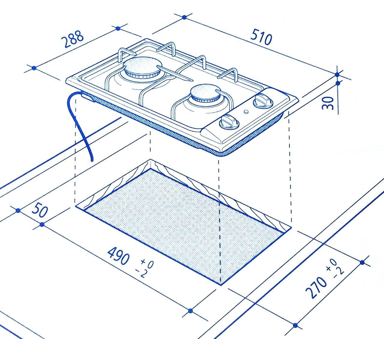 Piano cottura da incasso 30 cm Domino, Bianco, 2 fuochi a gas, De ...