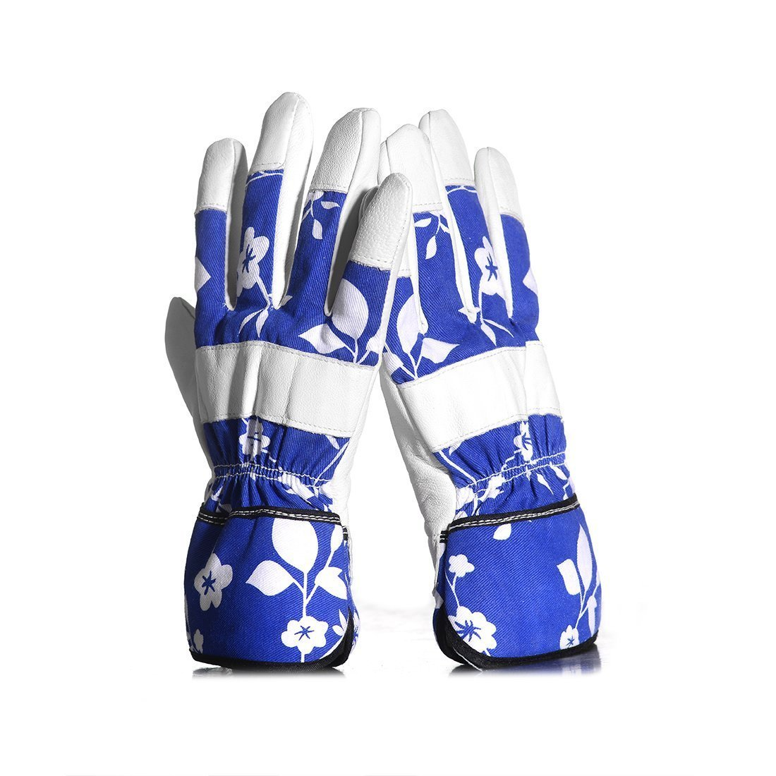 Garden Gloves - Leather Lady Women's Slim Fit Hand Protection - Perfect for Garden and House - Even Safe for Pruning Roses (Blue ) feifuns
