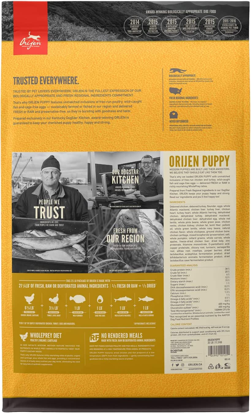 ORIJEN Puppy High-Protein, Grain-Free, Premium Animal Ingredient, Dry Dog Food