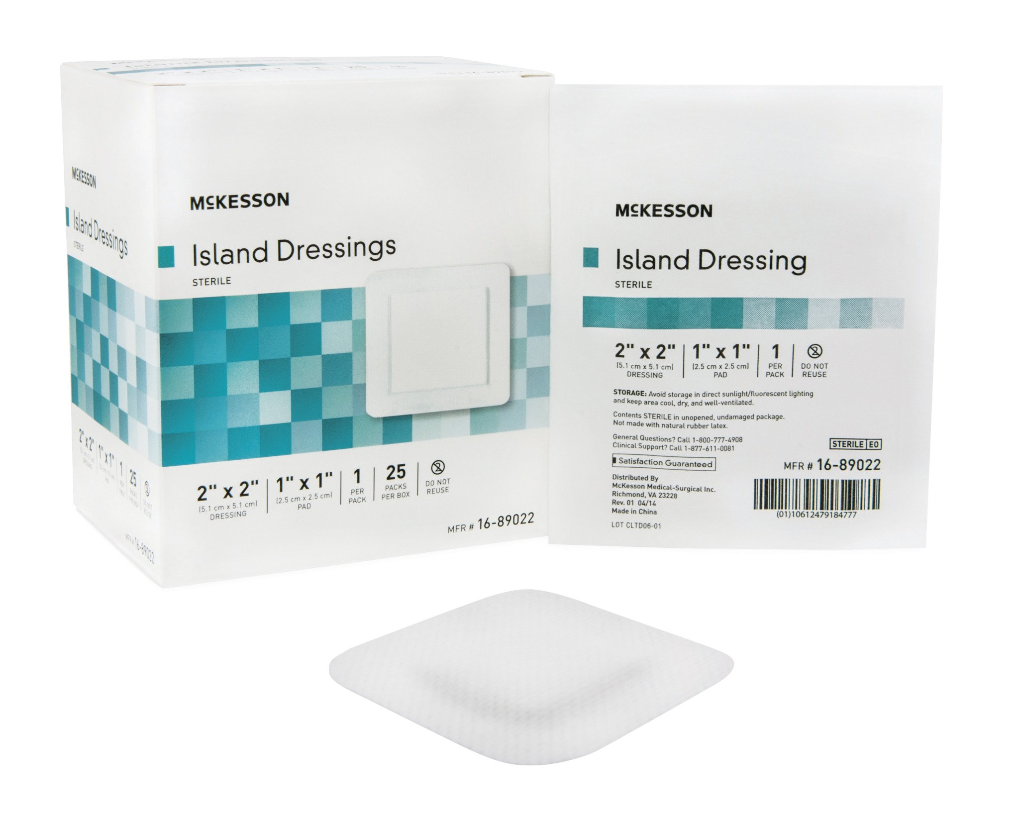 Adhesive Island Dressing McKesson 2 X 2 Inch Polypropylene / Rayon Square 1 X 1 Inch Pad White Sterile - 25/BX (MFN # 16-89022)