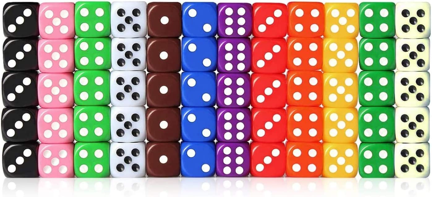 Lvcky 60 Piece Game Dice Set 12 Color Square Corner Dice With Free Storage Box For Playing Games Such As Board Games Dice Games Math Games Parties Random Colors Amazon Co Uk Kitchen Home