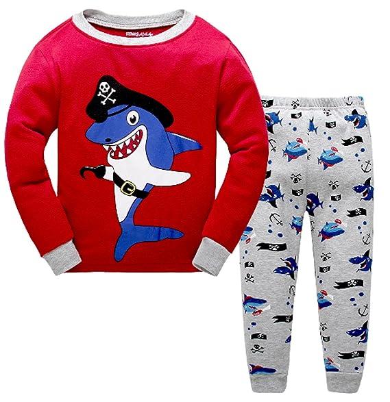 33bba0188 Amazon.com  Shark Little Boys Pajamas Sets 100% Cotton Clothes ...