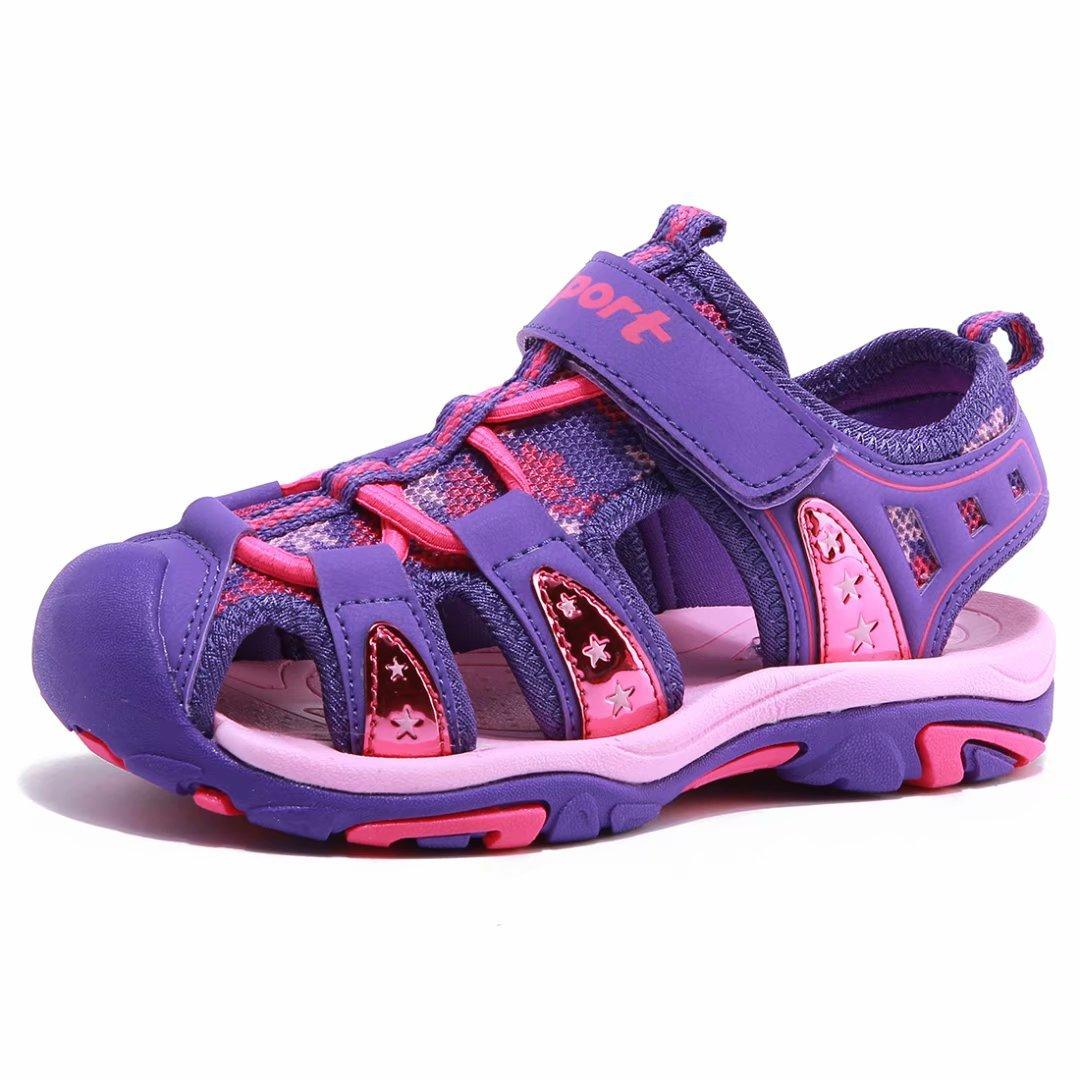 BODATU Girls' Summer Outdoor Beach Sports Closed-Toe Sandals(Toddler/Little Kid/Big Kid)(23, Purple)
