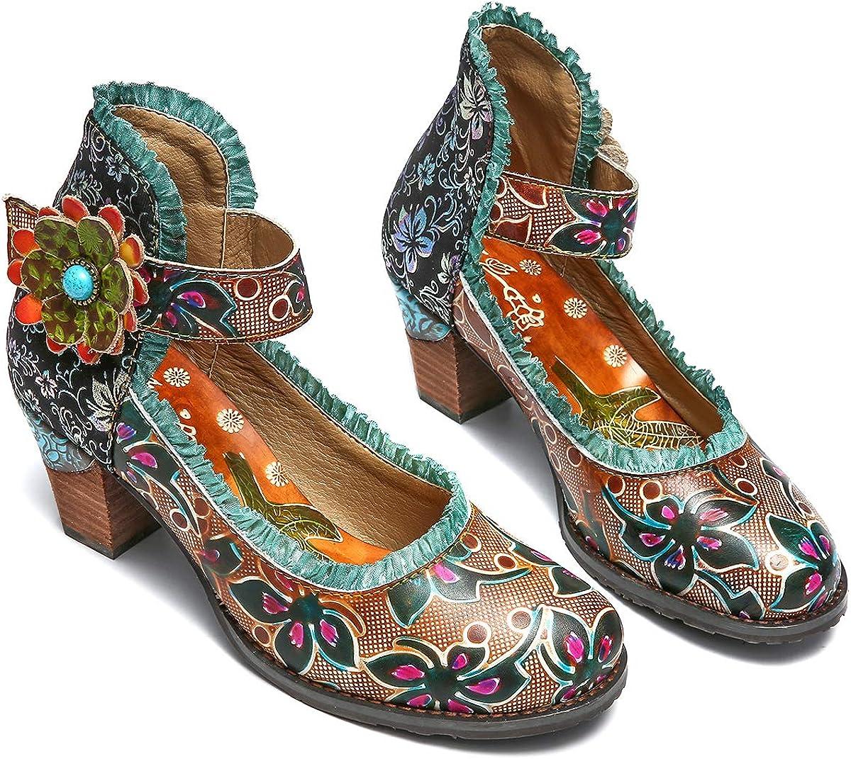 gracosy Cuero Zapatos de Tacón Medio de Mujer, Verano Primavera Fabricados a Mano con un Flores Tamaño 37-42 Rojo Verde Azul Hebilla Diseño Elegante y Moderno Estilo Bohemia