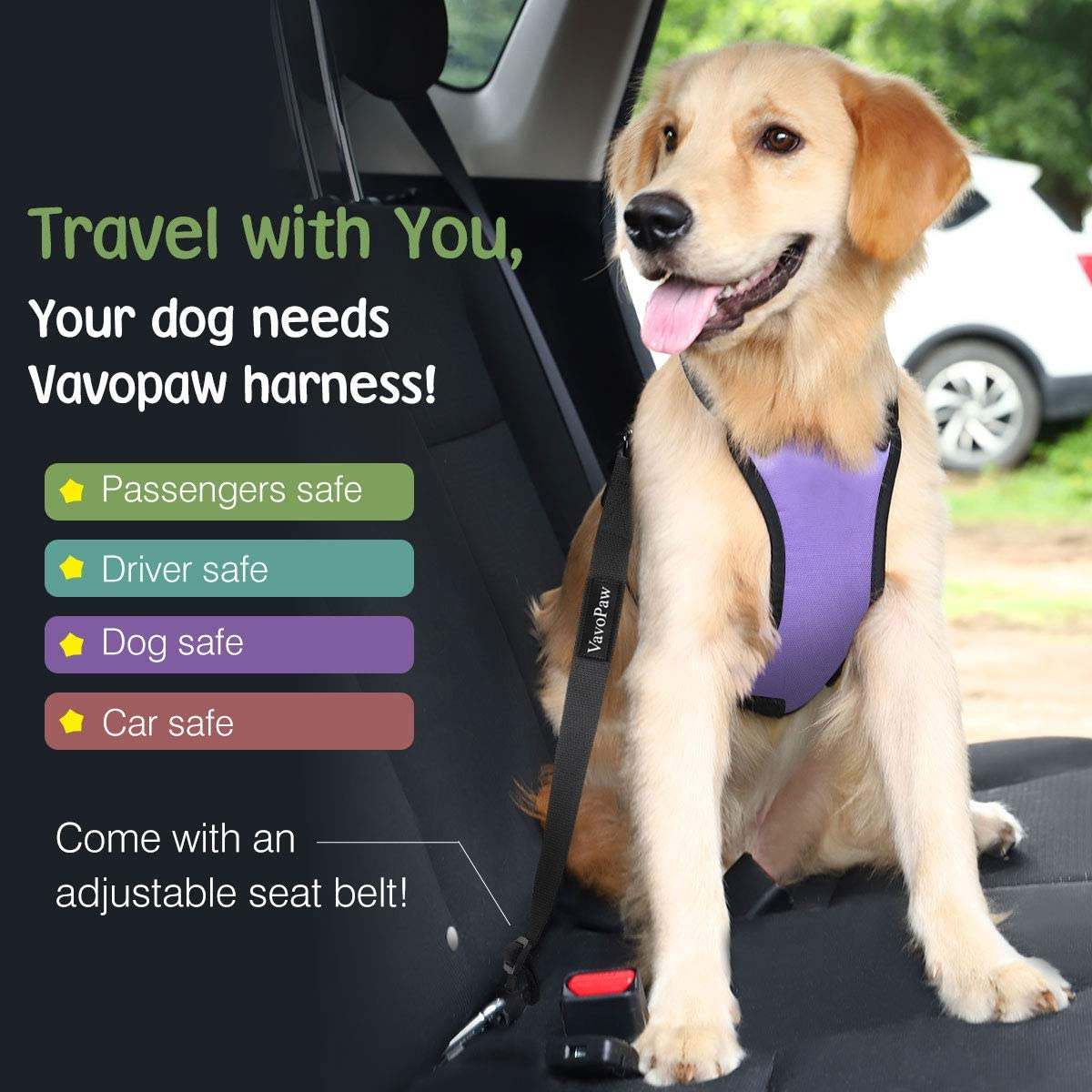 Marble Purple VavoPaw Dog Vehicle Safety Vest Harness Size Extra Large Adjustable Soft Padded Mesh Car Seat Belt Leash Harness with Travel Strap and Locking Carabiner for Most Cars