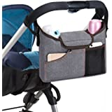 Jerrybox Stroller Organizer Bag, Multifunctional Organizer Fits All Strollers, 2 Insulated Cup Holders, Extra-Large Storage Space for iPhones, Diapers, Toys and iPads, BONUS, Specially Designed Strap