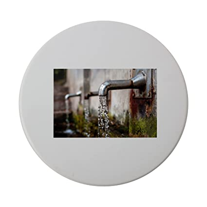 Grifo dispensador de agua, fuente de cerámica redondo posavasos