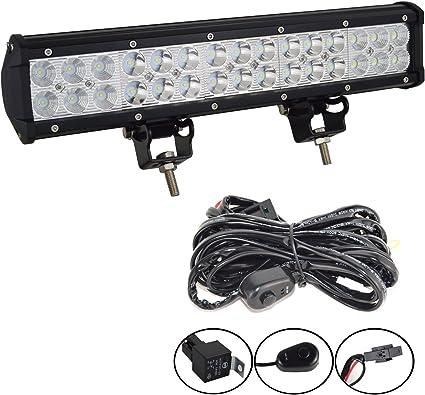 Wiring Kit 1 12inch 72W LED Light Bar Work SPOT FLOOD Combo Beam 4WD CAR ATV