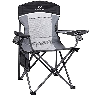 ALPHA CAMP Oversized Mesh Back Camping Folding Chair Heavy Duty Support 350 LBS Collapsible Steel Frame Quad Chair Padded Arm Chair with Cup Holder Portable for Outdoor (Black/Grey) : Sports & Outdoors