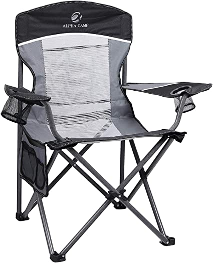 Heavy Duty Folding Camping Chair Cup Holder Deluxe Portable Quickly Collapsible