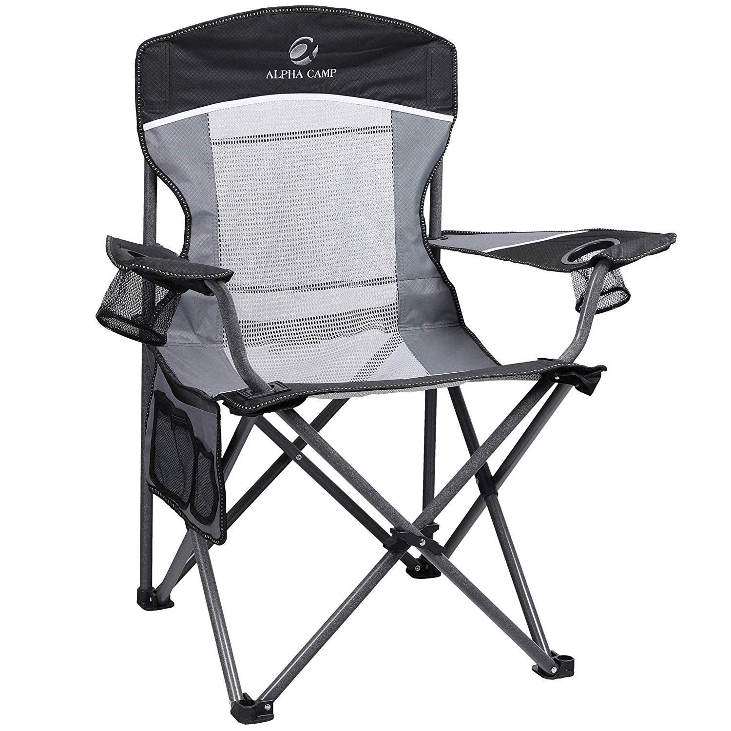 Admirable Alpha Camp Oversized Mesh Back Camping Folding Chair Heavy Duty Support 350 Lbs Collapsible Steel Frame Quad Chair Padded Arm Chair With Cup Holder Dailytribune Chair Design For Home Dailytribuneorg