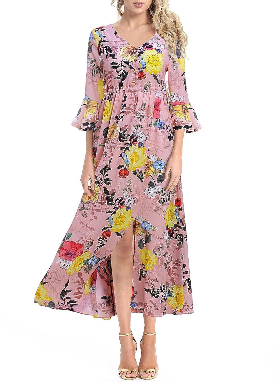 d3f1eccddec0 Women's Button up Split Floral Print V Neck Flare Sleeves Casual Beach Boho  Maxi Flowy Party Dresses