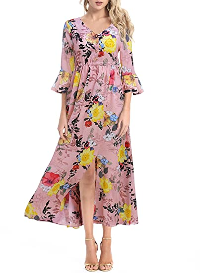9f94cdd76655 Women s Button up Split Floral Print V Neck Flare Sleeves Casual Beach Boho  Maxi Flowy Party Dresses