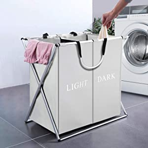 SHAREWIN 125L Laundry Cloth Hamper Basket Sorter Bin Foldable 2 Sections with Aluminum Frame (23x 15x 22 inches) Waterproof Storage Dirty Clothes Bag for Bathroom Bedroom Home