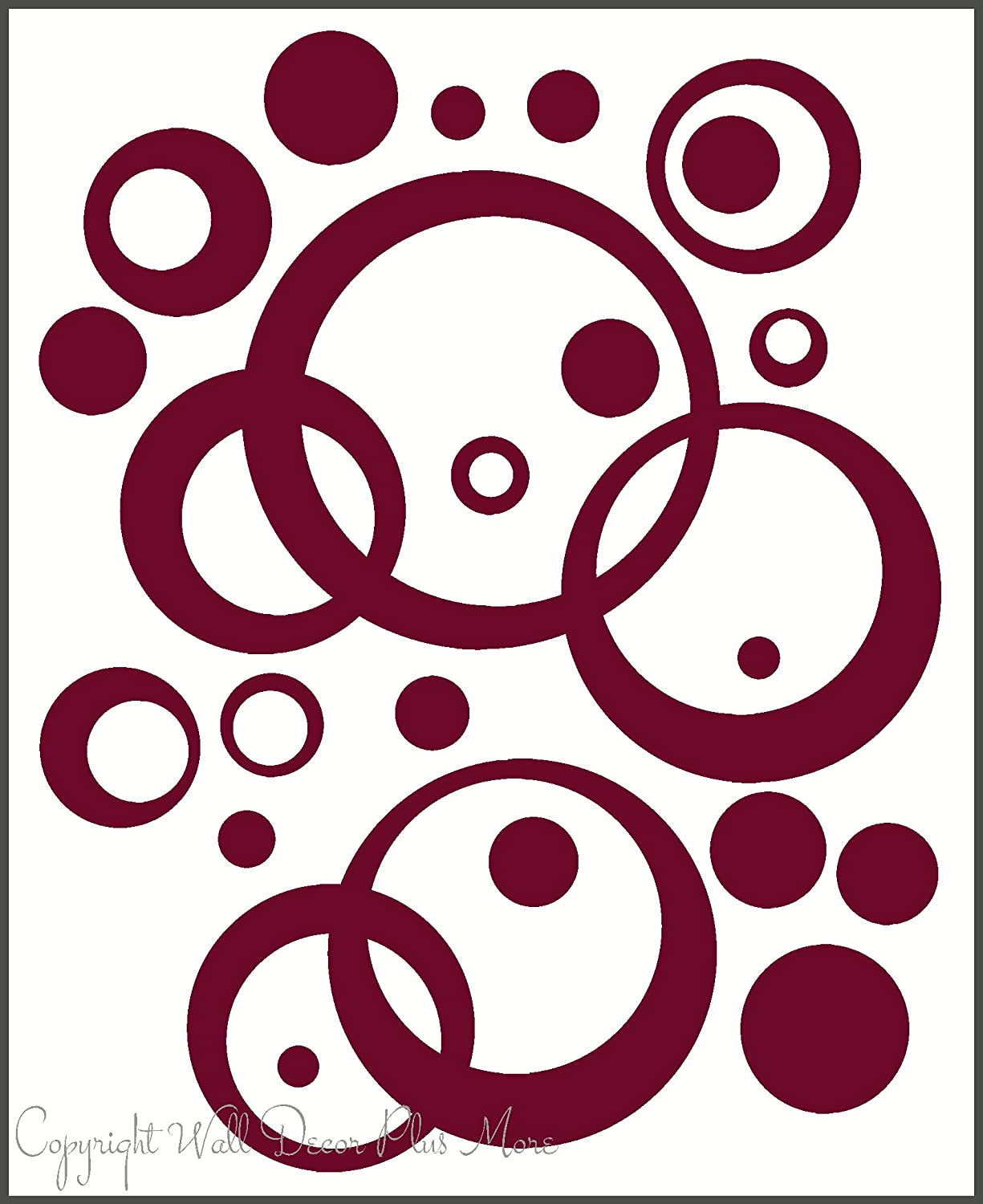 Wall Vinyl Sticker Decal Circles, Rings, Dots 25+pc 11in Large Home Décor - Burgundy