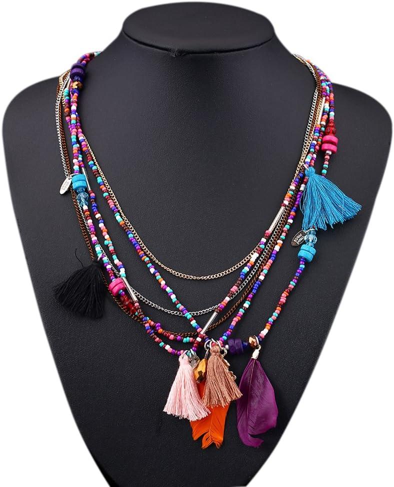Bobury Collar de aleación de perlas de plumas de las mujeres de aleación colgante de múltiples capas