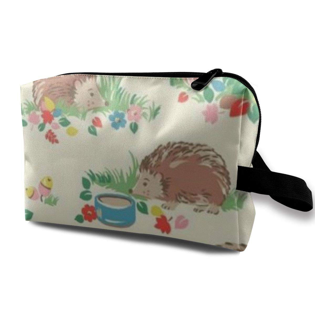 Funny 3D Printing Women Cosmetic Bag Hedgehog 16 Travel Makeup Bags 4.9 X 6.3 X 10 Inch