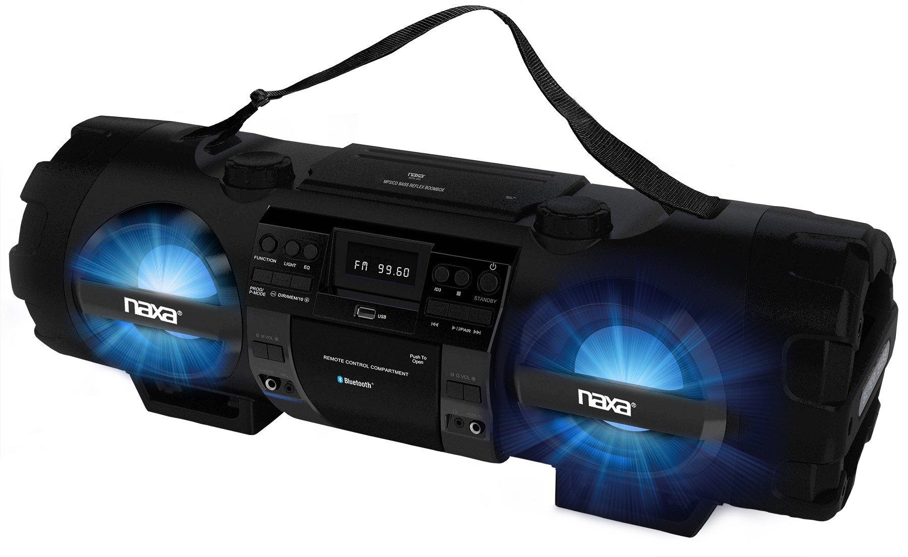 NAXA Electronics MP3/CD Bass Reflex Boombox and PA System with Bluetooth