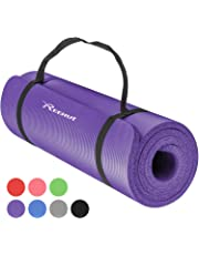 Reehut Tapis D'exercices de Yoga- 12 mm Très épais NBR Haute Densité, pour Pilates, Forme Physique et Entraînement, avec Sangle de Transport