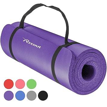 REEHUT Colchoneta de Yoga de NBR de Alta Densidad y Extra Gruesa de 12mm Diseñada para Pilates, Fitness y Entrenamiento - con Correa de Hombro 180cm x ...