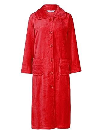 Slenderella Ladies Button Up Soft Fleece Dressing Gown Luxury Bathrobe with Pockets  XL (Red) 798eae534