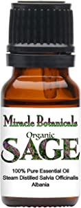 Miracle Botanicals Organic Sage Essential Oil - 100% Pure Salvia Officinalis - Therapeutic Grade - 10ml