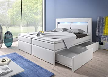 Boxspringbett weiß 180x200  Boxspringbett 180x200 Weiß mit Bettkasten LED Kopflicht Kunstleder ...