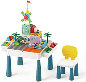 HOMETALL Blocks Table with Storage & Chair for Kids Ages 4-8, Multi Activity Table Set for Toddlers Building, Drawing and Dining, Children Play Table Include 144Pcs Compatible Bricks Toy