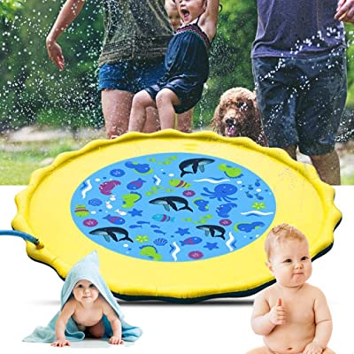 Corgy Inflatable Cushion Spray Water Game Pad Outdoor Lawn Children Play Water Mat Inflatable Ride-ons Yellow: Clothing