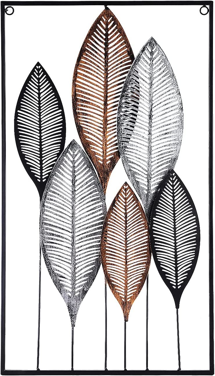 Metal Wall Art Wall Decor Metel Wall Decorations for Living Room Iron Leaf Wall Decor for Dining room,Restaurant 2.1 Feet Long
