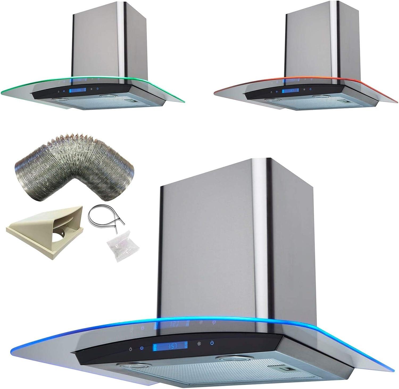 Sia Control táctil de 60 cm St/acero borde de 3 colores LED cocina campana + 1 m): Amazon.es: Grandes electrodomésticos