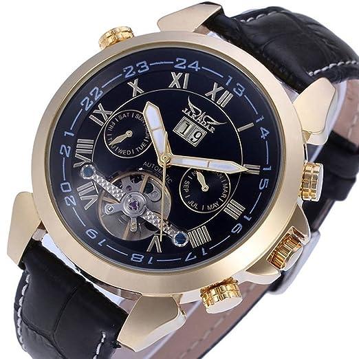 sweetbless pulsera de los hombres ¡¯ s día/mes/semana Tourbillion Automático Mecánico piel sintética banda reloj Gold-Black: Amazon.es: Relojes