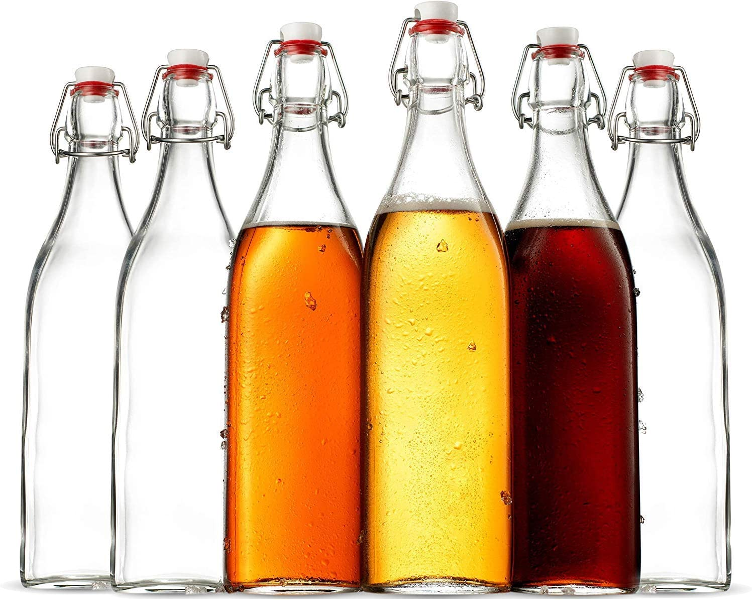 Swing Top Clear Glass SQUARE Bottle With Airtight Stopper - 33.75 oz (6 Pack) Fliptop Grolsch Bottles Great for Oil and Vinegar, Beverages, Homemade Juices, Smoothies,