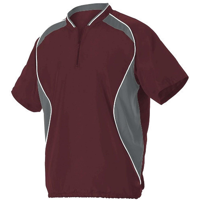 AllesonメンズShort Sleeve Baseball Batter 'sジャケット B00WUN7UQW Large|マルーン マルーン Large