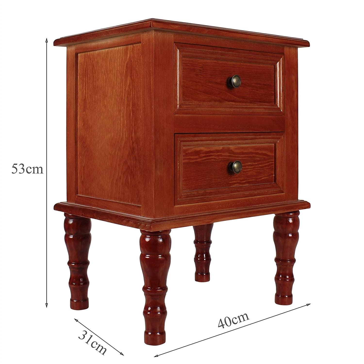 Cosy7 Oxford Collection Assembled Solid Wood 2 Drawers Pine Bedside Table Red Vantage Mid Century 60s Bedroom Cabinet Shabby Chic Retro Nightstand