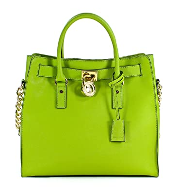 af70f5f8f86a Michael Kors Hamilton Saffiano Leather Large North South Lime Green Tote  Handbag