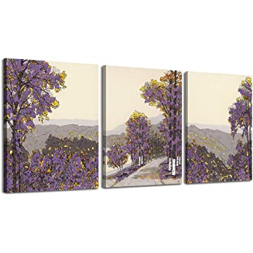 LKY ART Wall Decorations for Living Room Birch Trees Picture Painting,Modern Nature Artwork Plants Wall Decor Artwork on Canvas Branch 3 Panel Modern Nature Landscape Poster Ready to Hang