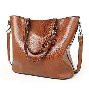 1e59e5a128f88 VECHOO Damen Handtasche Leder Umhängetasche Vintage Schultertasche klein Shopper  Taschen Henkeltasche(Braun) 32