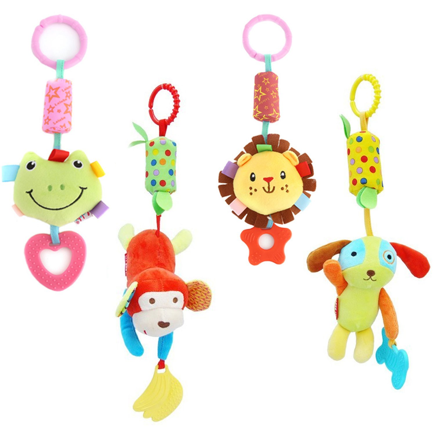 DOMIRE Baby Rattle Hanging Toys, 4 Pack Washable Infant Stroller Toys with Cute Wind Chime and Plush Squeak Crib Toys for Baby Boys Girls