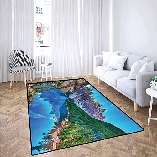 Lake House Decor Collection Polyester Rubber Door mats Moraine Lake Sunrise in Banff National Park Clear Sky Reflection Colorful Picture Kids Floor mats,6 x 9 , Blue Green