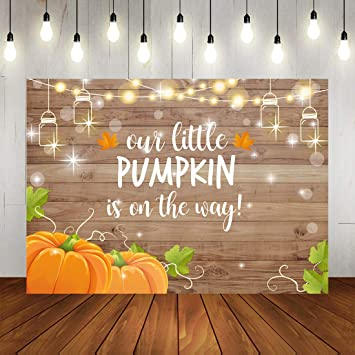 Wood Pumpkin Baby Shower Backdrop Fall Autumn Little Pumpkin is On The Way Background Glitter Bottle Lights Wooden Welcome Baby Shower Party Decorations 7x5ft Thanksging Day Baby Shower Photo Booth