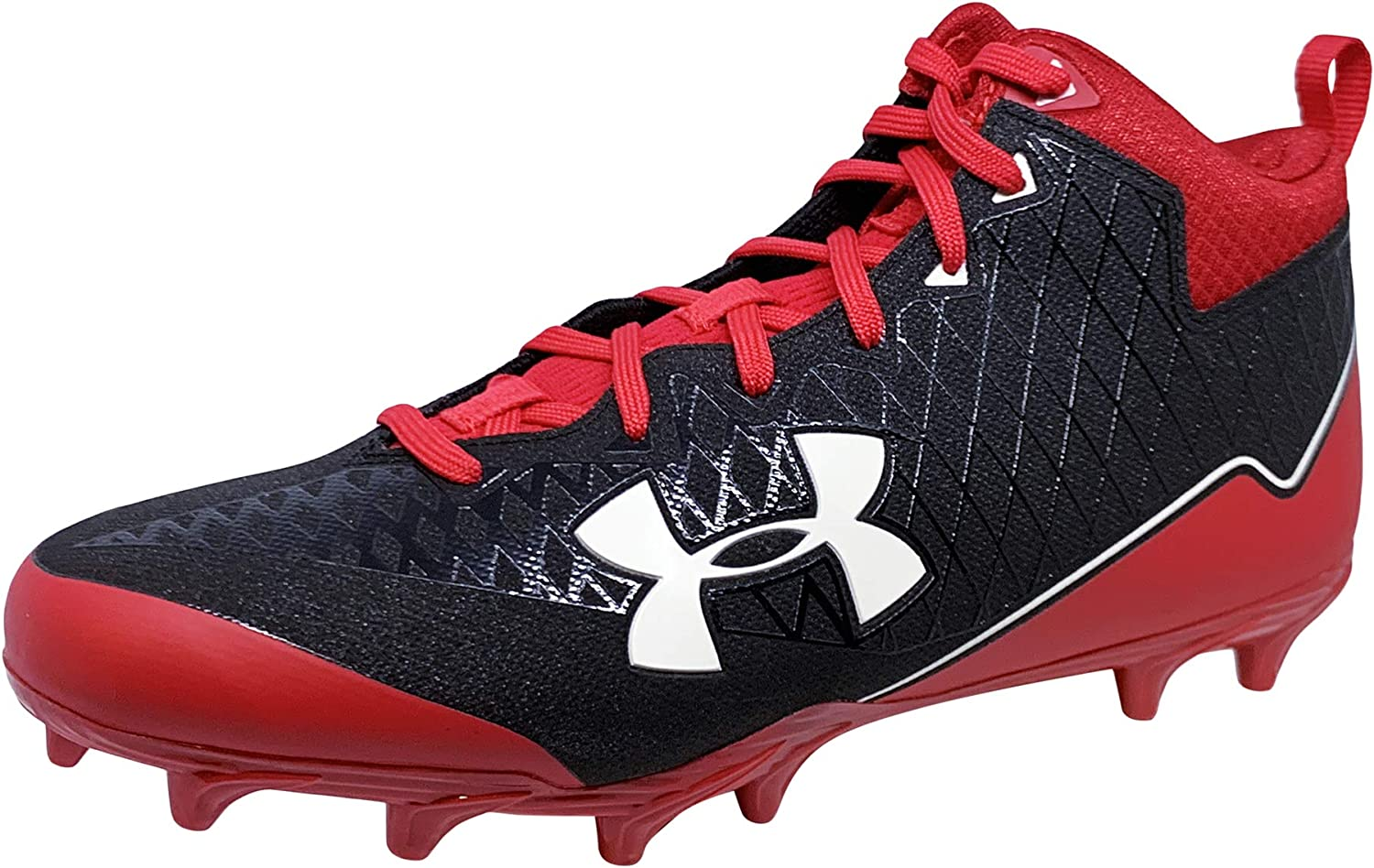 Under Armour Mens UA Nitro Select Mid MC (10.5, 黒/赤/白い)