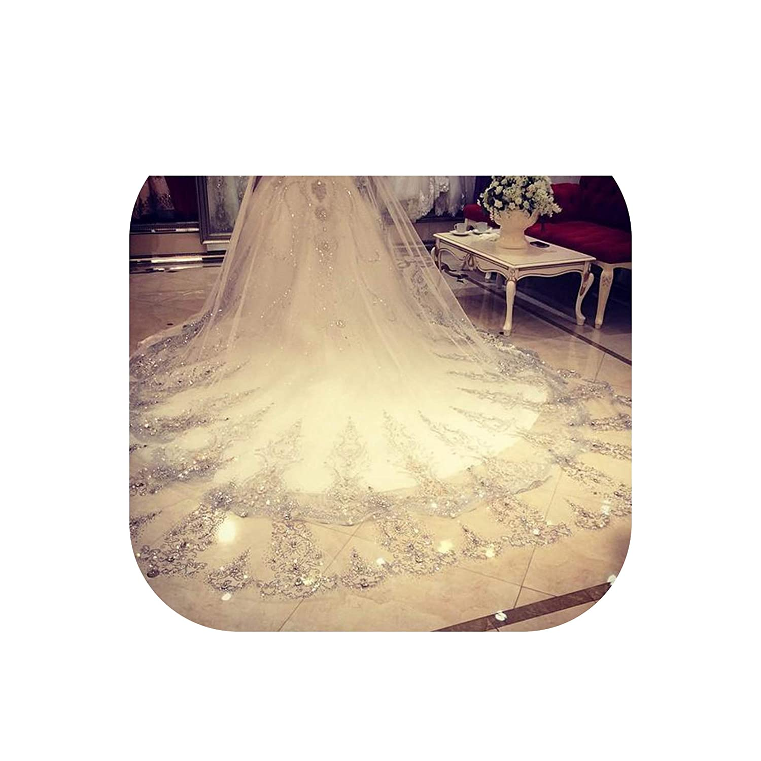 White Wedding Veil 3.5 Meters Length 1.8M Width Real Image Crystals Rhinestones Lace BlingBling Cathedral Bridal Veils with Comb,White,300cm
